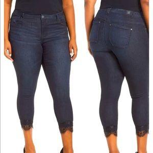 Wit & Wisdom High Waist Lace Trim Skinny Jeans